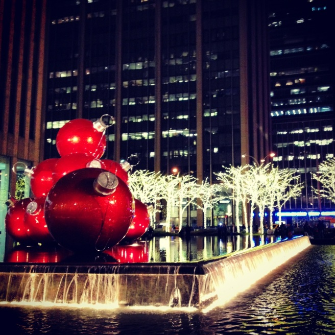 Giant Ornaments off of 6th Ave, behind 30 Rock. Image copyright Carla Ramirez